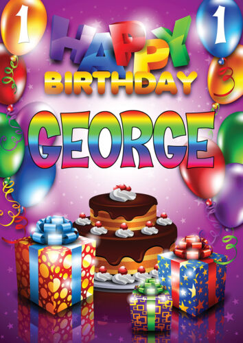LARGE KIDS BIRTHDAY POSTER BANNER PERSONALISED ANY NAME THEME TEXT WITH PHOTO