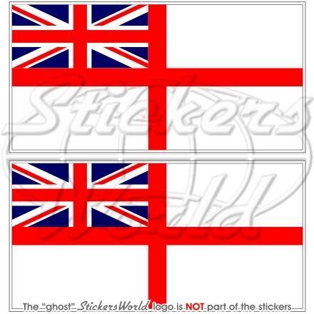 """MARINE ROYALE Drapeau UK White Ensign britannique 4/"""" Autocollants Decals x2 100 mm"""
