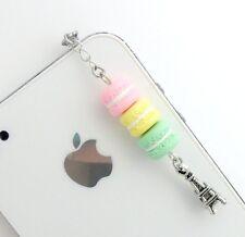 Pastel Macaron Trio Eiffel Tower Dust Plug Charm, Phone Charm, Kawaii! :)