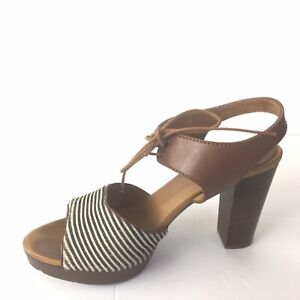 248ca348496 madewell shoes 7.5 Lace Up Stripe Calf Hair Sandals Stacked Heel ...