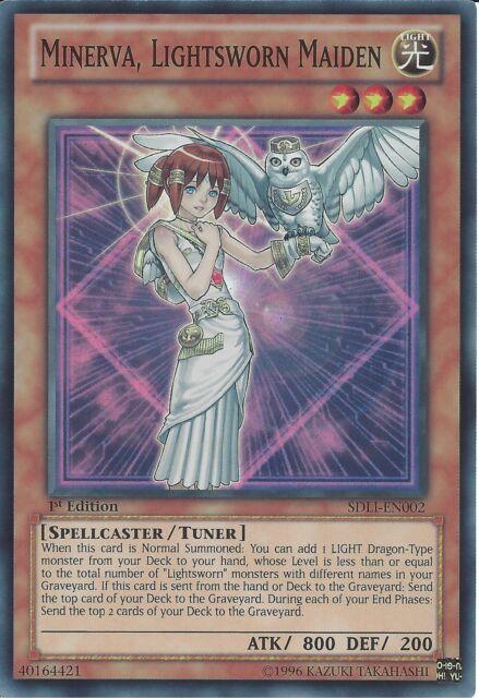 YU-GI-OH: SUPER RARE - MINERVA, LIGHTSWORN MAIDEN - SDLI-EN002 1ST EDITION