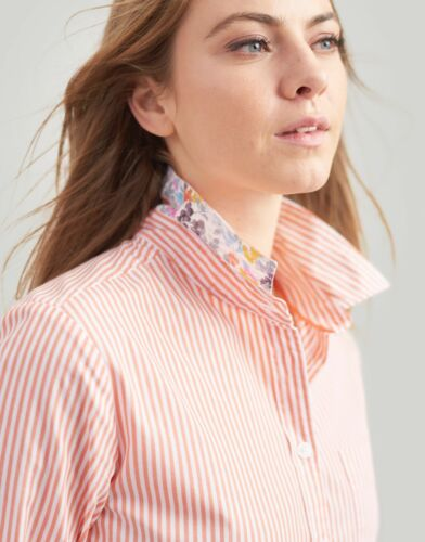 JOULES LUCIE PRINT WOVEN ORANGE STRIPE LONG SLEEVE SHIRT NEW WITH TAGS