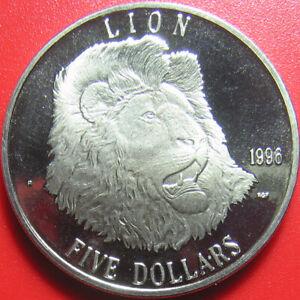 1996-MARSHALL-ISLANDS-5-034-LION-034-WILDLIFE-CAT-CROWN-CU-NI-28gr-38-6mm-no-silver