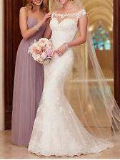UK White/ivory Lace Mermaid Wedding Dress Bridal Gown Sizes 6-18