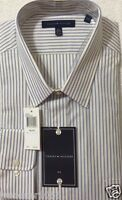 Tommy Hilfiger Big Dress Shirt 18 34/35 Yellow / Blue / White Striped