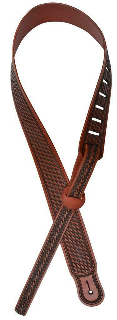 3D Leather Guitar Strap Basketweave Tan DGS05