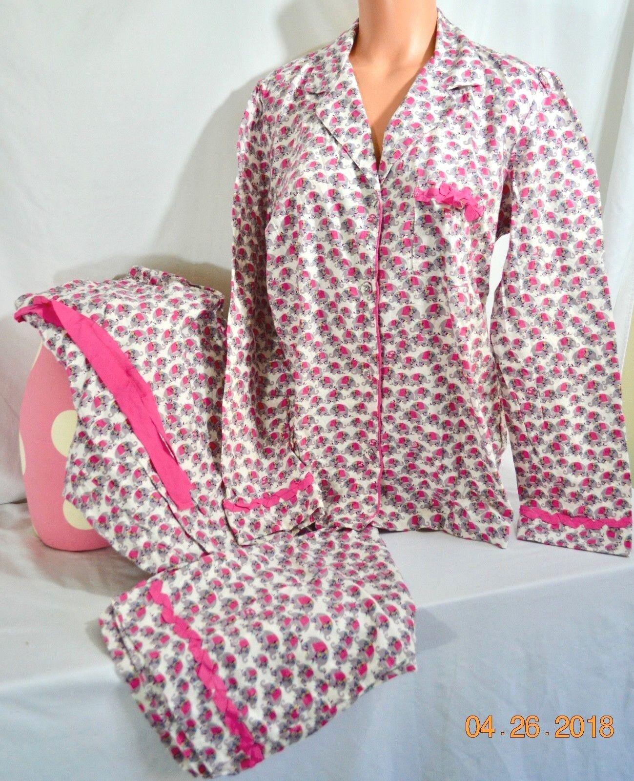 Victorias Secret After Party Flannel Pajama Set 100% COTTON Elephants NWT L