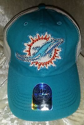 Miami Dolphins NFL 47 Brand Women's Rhinestone Bling NFL Cap Hat ~NEW~