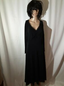 Max Mara Black Midi Dress Rayon With Silk Detail 3/4 Sleeve Made In Italy Size