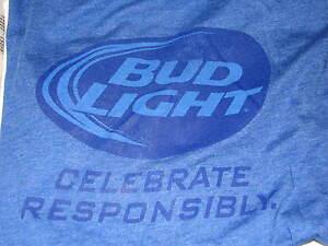NEW Blue Bud Light Budweiser T shirt XL Beer LOT Flashlight Keyring Mens XLarge