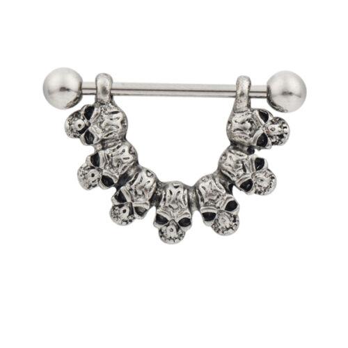 1pc Retro Curved Skull Heads Nipple Shield Bar Ring Body Jewellery 14G WT