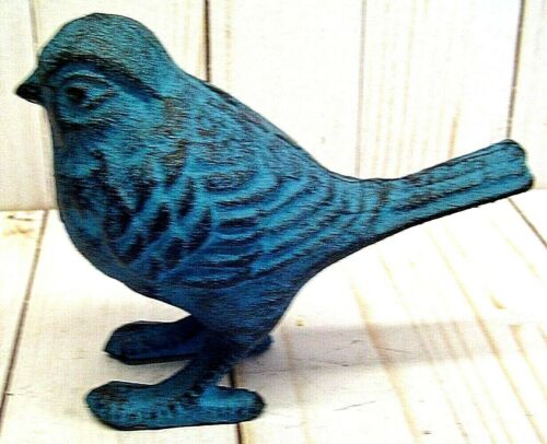 STATUE ART SCULPTURE VINTAGE STYLE CAST IRON BLUE BIRD FIGURINE HOME DECOR