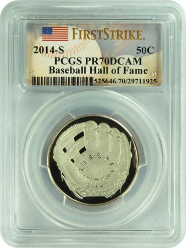 2014-S PCGS PR70DCAM Baseball Hall of Fame 50C First Strike