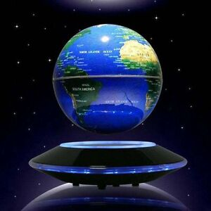 "Floating Globe Decoration 3/6"" World Map Nightlight 8 LED Magnetic Levitation"