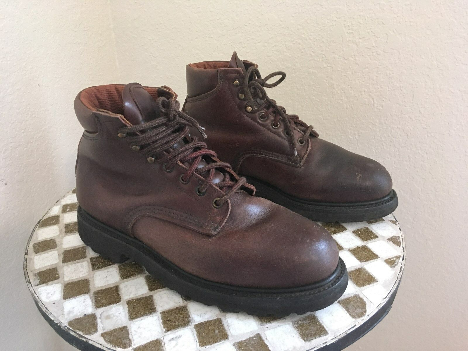 USA VINTAGE DISTRESSED OXBLOOD rosso WING CHORE FARM WORK ANKLE TRUCK stivali 8.5 D