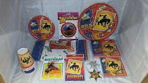 Wild-West-Party-in-a-box-for-8-Napkins-plates-cups-and-much-more-NOS