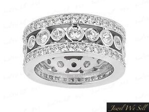 2-50Ct-Cut-3-Row-Wide-Diamond-Eternity-Wedding-Band-Bridal-Ring-Platinum-F-VS1