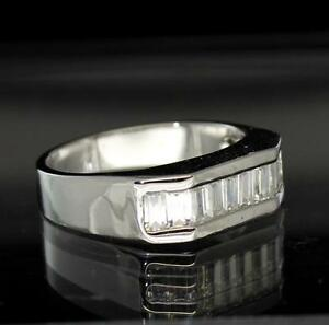 Mens Engagement Band Baguette Cz 14k White Gold Finish Ring