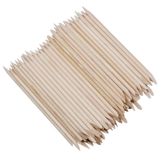 100X Nail Art Orange Wood Stick Cuticle Pusher Remover Manicure Pedicure To T6F8