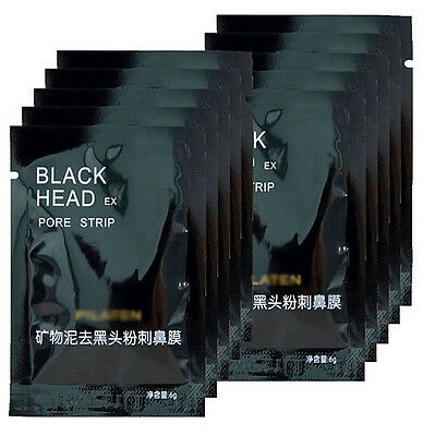 1/5/10pc Blackhead Remover Black Mineral Mud Nose Acne Pore Cleansing Mask Strip