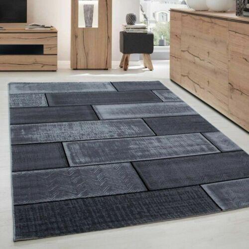 Tapis de salon moderne designe brique courte pile Noir Gris