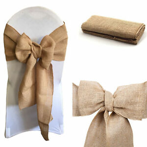 Hessian-Sashes-Chair-Cover-Bows-Jute-Burlap-Vintage-Rustic-Wedding-Party-Decor