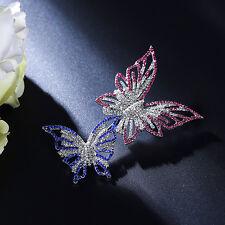 Broche Gros Argenté Deux Papillon Cristal Rose Bleu Dentelle Fin Mariage XZ4