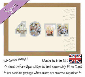 40th birthday signing photo frame double mount guest book 872d