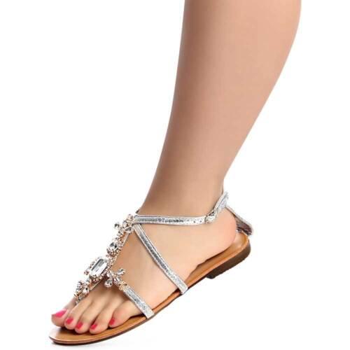 Damenschuhe Strass Glitzer Sandalen Zehentrenner Sandaletten Flach