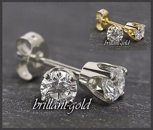 Diamant-Brillant-Damen-Ohrstecker-585-Gold-3-4mm-0-20-0-50ct-Weissgold-Gelbgold