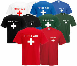 Premiers-secours-t-shirt-tee-avant-et-arriere-Unisexe-Paramedic-evenement-personnel-equipage