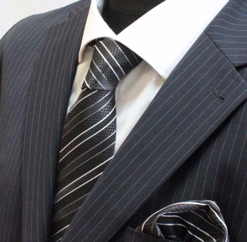 Men's Tie /& Handkerchief Set Black shades with White Stripe LUC63