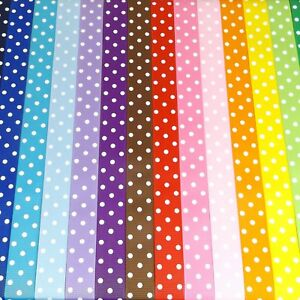 "1 2 3 Metre METRES multi colour polka dot 22 mm 7//8/"" Grosgrain Ribbon"