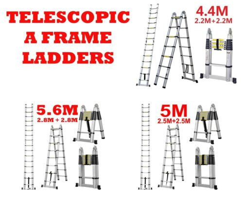 4.4M 5.0M 5.6M MultiPurpose Aluminium Telescopic Extendable A Frame Ladder Step