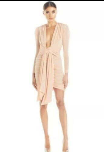 MISHA  Collection Dress. Peach Color, Front Knot.