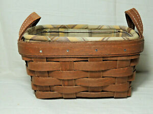LONGABERGER-2015-Tea-Basket-Combo-RB-with-Fabric-Liner-and-Hard-Protector-EUC