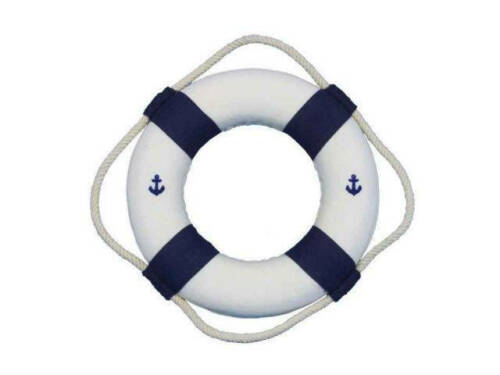 """Classic White Decorative Anchor Lifering With Blue Bands Christmas Ornament 6/"""""""