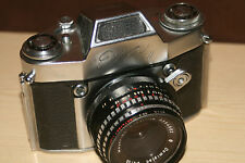 Ihagee Exa II Vintage 35mm SLR Film Camera With Meyer-Optik 50mm Lens + Case.