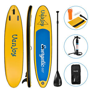 10-039-Inflatable-SUP-Stand-up-Paddle-Board-Surfboard-Adjustable-Fin-Paddle-Yellow