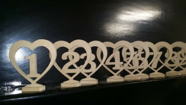 MDF UNPAINTED WOODEN HEART TABLE NUMBER ON BASE Wedding, Birthday Special Events
