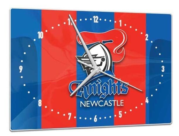 Licensed NRL Newcastle Knights Rugby League Glass Clock Pool Dart Room Man Cave