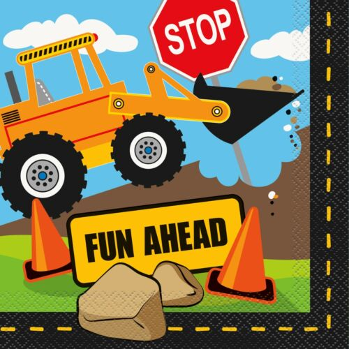 Construction Party Theme Boys Birthday Party diggers building trucks cones