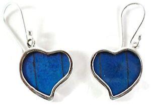 Butterfly-Wing-Earrings-Sterling-Silver-Deep-Blue-Drop-Dangle-034-Corazon-034-Heart