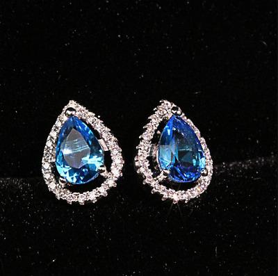 4Ct Pear Cut Blue Tanzanite /& Diamond Push Back Earrings 14K Yellow Gold Over