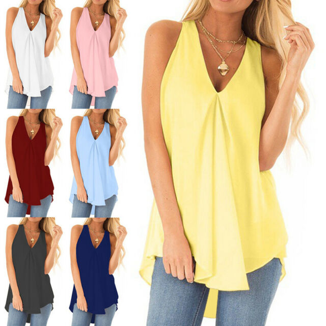 Womens V Neck Tank Tops Cami Ladies Summer Chiffon Vest T Shirt Blouse Plus Size