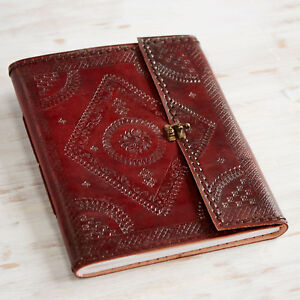 Indra Fair Trade Handmade XL Embossed & Stitched Leather Photo Album 2nd Quality