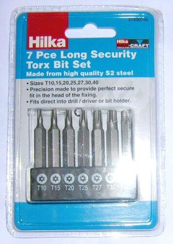 7PC Étoile Torx indéréglable Carburateur Sécurité Bits Hilka 50 mm T10 T15 T20 T25 T27 T30 T40