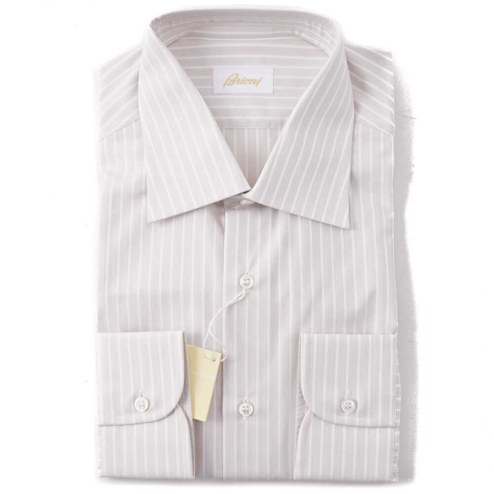 NWT  650 BRIONI Sand Beige and Weiß Striped baumwolle Dress hemd 16 x 35