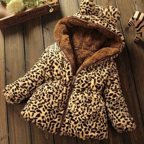 Toddler Baby Girls Warm Hooded Coat Leopard Outerwea Kids Jacket Clothes Winter