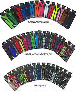 Clip-on-Wide-1-5-034-Suspenders-Elastic-Y-Shape-Adjustable-Braces